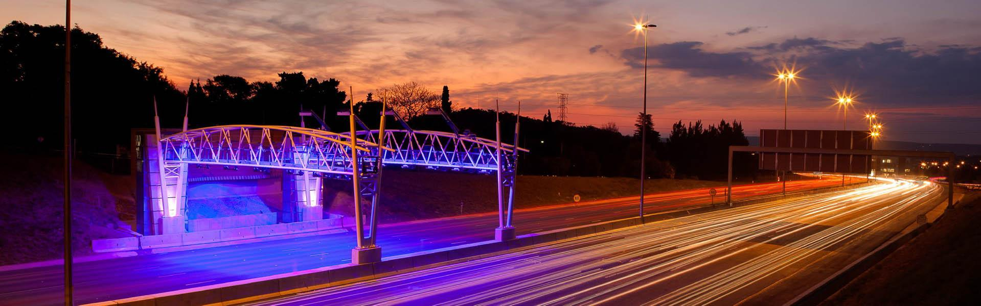 A free-flow toll gantry from Sanral's Gauteng Freeway Improvement Project (GFIP)
